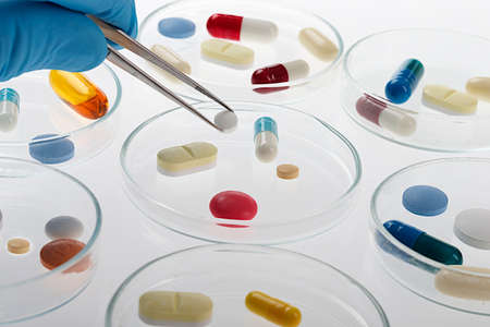 drug use: Samples of medicines, tablets, capsules, vitamins, and placebo  Stock Photo