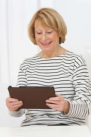 old sofa: Smiling senior woman at home connected on internet  Stock Photo