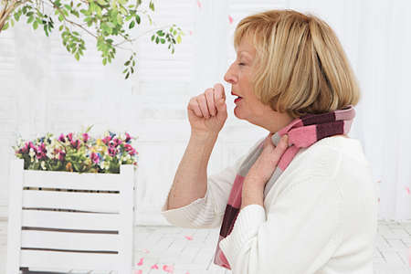 Senior Woman coughing  Stock Photo