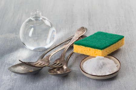 bicarbonate: bicarbonate natural silverware cleaner Stock Photo