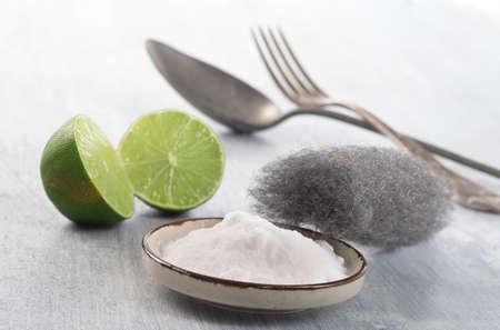 sodium bicarbonate: naturl cleaning product with sodium bicarbonate Stock Photo