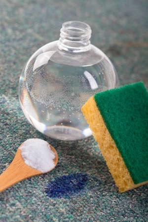 Sodium bicarbonate , Lemon  , sponge used for cleaning  photo