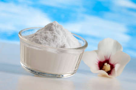sodium bicarbonate: Sodium bicarbonate in a glass jar