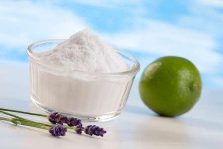 sodium bicarbonate: Lemon with Sodium bicarbonate in a glass jar
