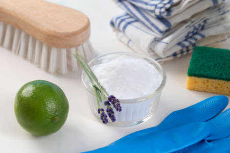 Eco-friendly natural cleaners Vinegar, baking soda, salt, lemon and cloth   Homemade green cleaning