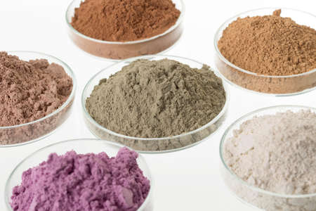 cosmetic clay/: yellow, purple, pink, red, white, green for Spa and bodycare 스톡 콘텐츠