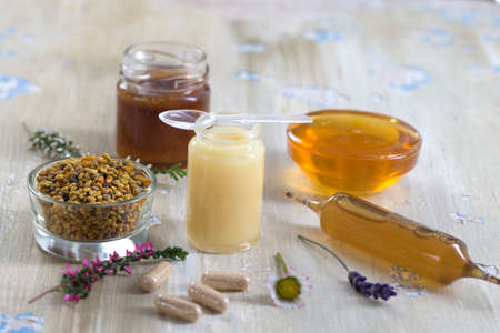 vitamins and nutritional supplements, organic honey bee products Stock Photo
