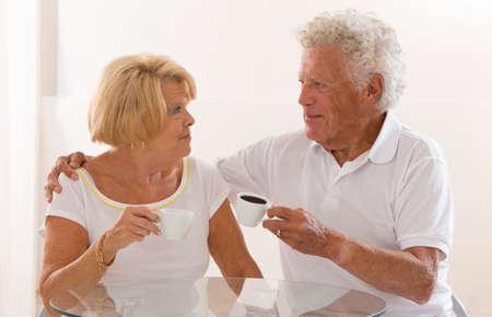 coffe break: senior couple having a coffe break