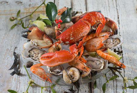 fruit platter: seafood plater with lobster Stock Photo