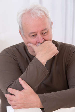 depress: OBESITY SENIOR MAN Stock Photo