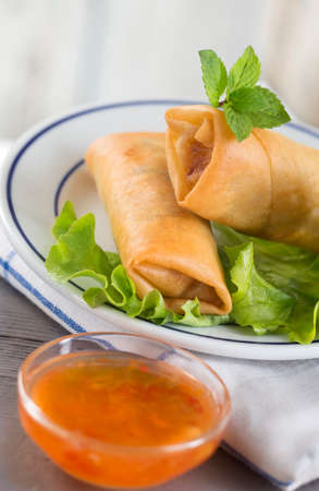 egg roll: Spring Roll also known as Egg Roll isolated on white.