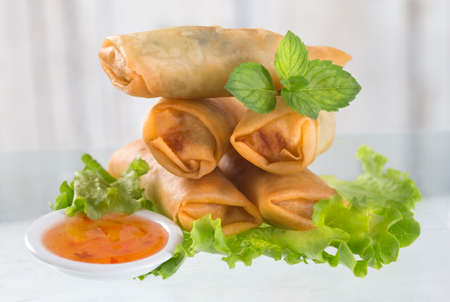 egg roll: Spring Roll Also Known As Egg Roll isolated on white. Stock Photo