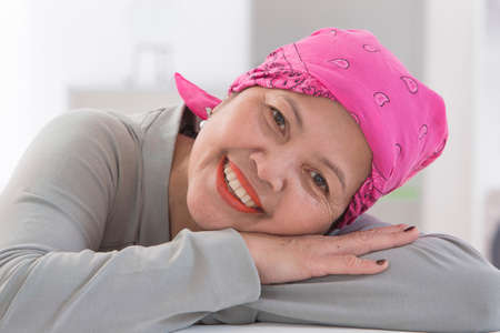 50 60 years: Senior Asian woman wearing Thai headscarff Recovering from cancer