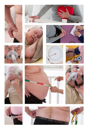 �aucasian: collage of pictures obesity