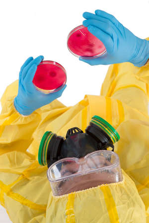 protective spectacles: Research laboratory technician with petri dish