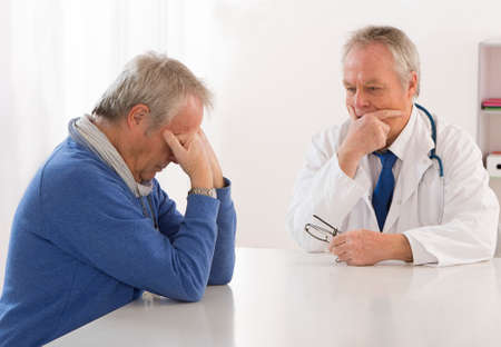 depressed man: Depressed consultation with depressed man
