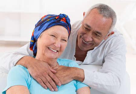 cancer woman: loving senior couple