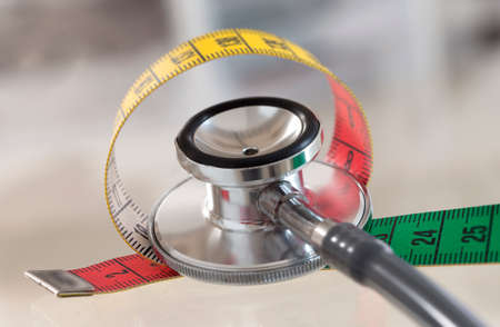 nutritional: Measuring tape and stethoscope Stock Photo