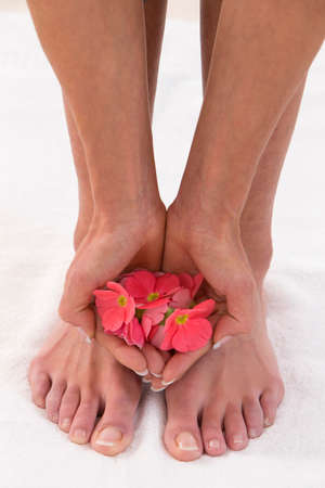 manicured hands: Pedicured feet, manicured hands and aromatic flowers in a spa