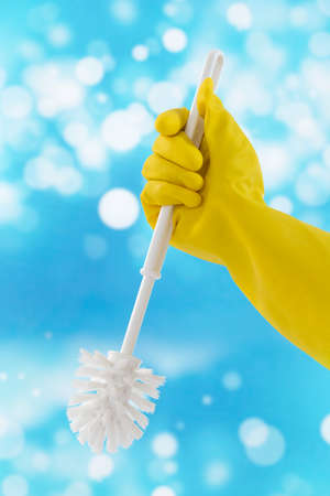 toilet brush: Woman hand with toilet  brush cleaning