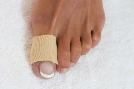 splint: foot toe bandage Stock Photo