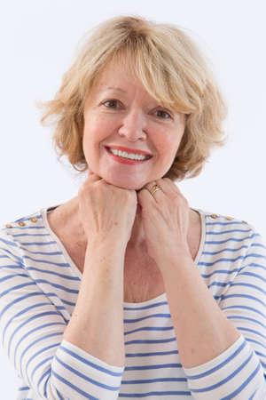jubilados: sonriendo Retrato mayor Foto de archivo