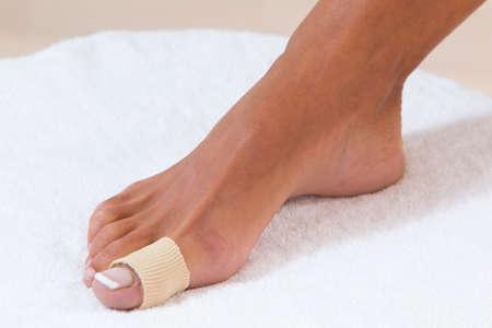 splint: pie dedo vendaje Foto de archivo
