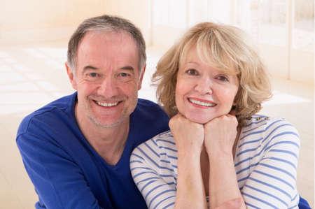 happy seniors: Happy seniors couple in love. Healthy teeth Stock Photo