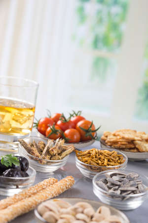 tomes: fried bugs abd appetizer biscuit seeds Stock Photo
