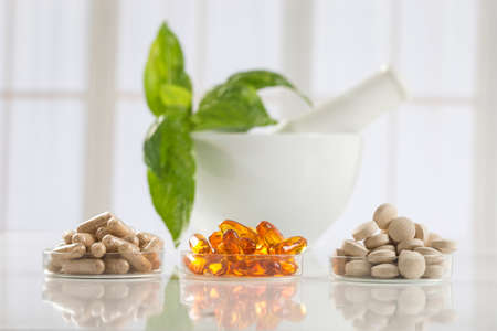 alternative health: Alternative health care fresh herbal ,dry and herbal capsule with mortar Stock Photo