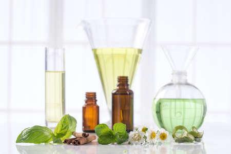 simbolo medicina: Varios aceites esenciales de plantas aromáticas frescas Foto de archivo