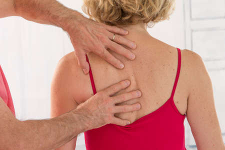 adjustment: Symbol of osteopathy chiropractic, physiotherapy Stock Photo