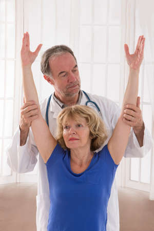 physical therapy: A picture of a physio therapist giving an arm massage