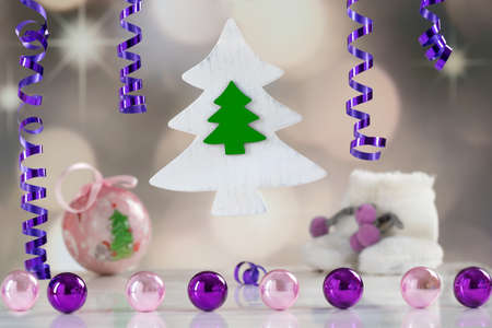 christmas beads: Christmas and New Year celebration card