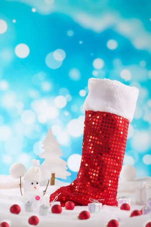 christamas: Red Christmas boot   with christmas baubles Stock Photo