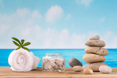 spa accessories  with  stones  on white background Stock Photo
