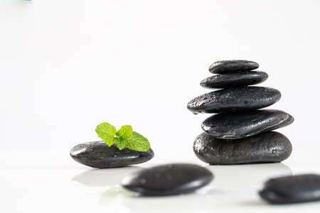 Mint leaves on spa stones, isolated on white background.