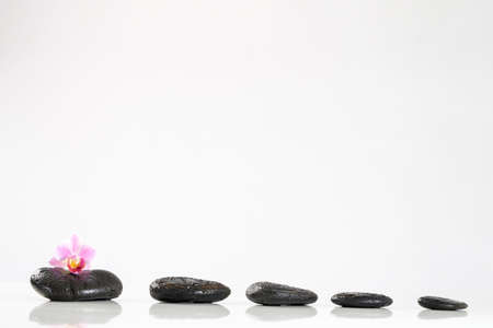 Pink orchid on  on top of balanced spa stones, isolated on white background. Stock Photo