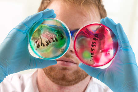 potentially: Lab coat protected life science researcher observing potentially infectious cells in petri dish Stock Photo