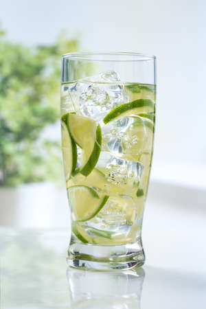 lime: lime slice in sparkling water