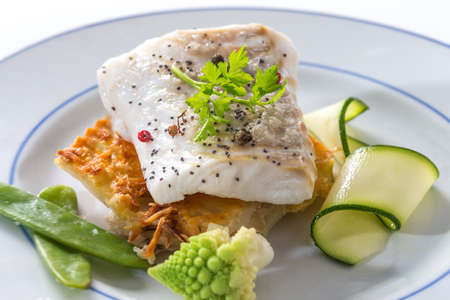 cod oil: Steamed  diet fish recipe for healthy meal Stock Photo