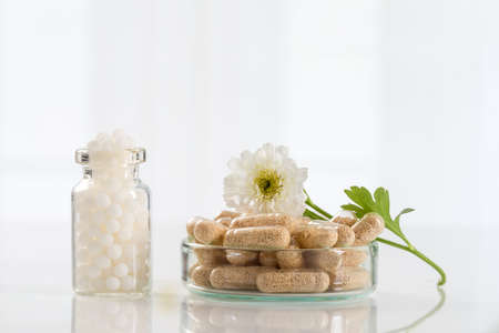 Alternative medicine homeopathy and food supplement Stock Photo