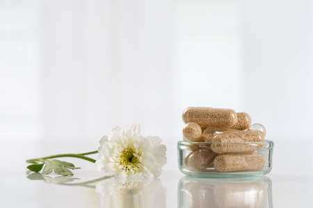 capsule: Alternative medicine homeopathy and food supplement Stock Photo