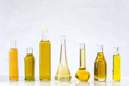 Different sorts of cooking oil close-up Stock Photo