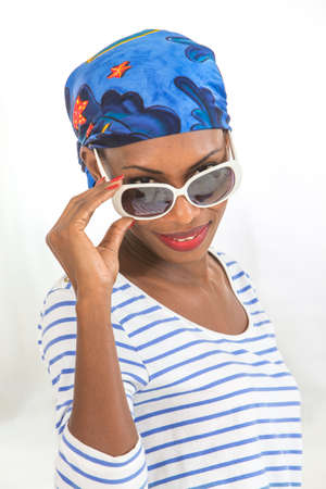 black lady: woman with headscarf wearing  eyes glasses Stock Photo
