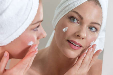 white mask: Skin care background with beautiful woman