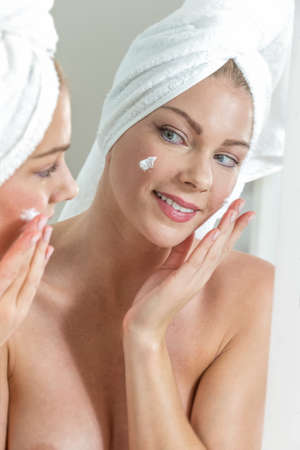 face mask: Skin care background with beautiful woman