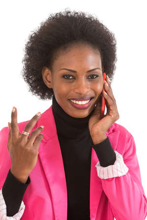 african business: African business  woman talking on telephone Stock Photo