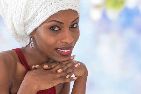 head scarf: African-American woman wearing  head scarf