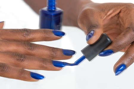 Holiday Nail Art Luxury Blue Nail Polish On Black African American